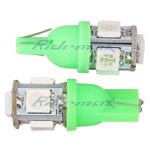 T10 Wedge 5-SMD 5050 LED Light Bulbs Ultra 192 168 194 2825 Pair - Green