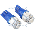 T10 Wedge 5-SMD 5050 LED Light Bulbs Ultra 192 168 194 2825 Pair - Blue